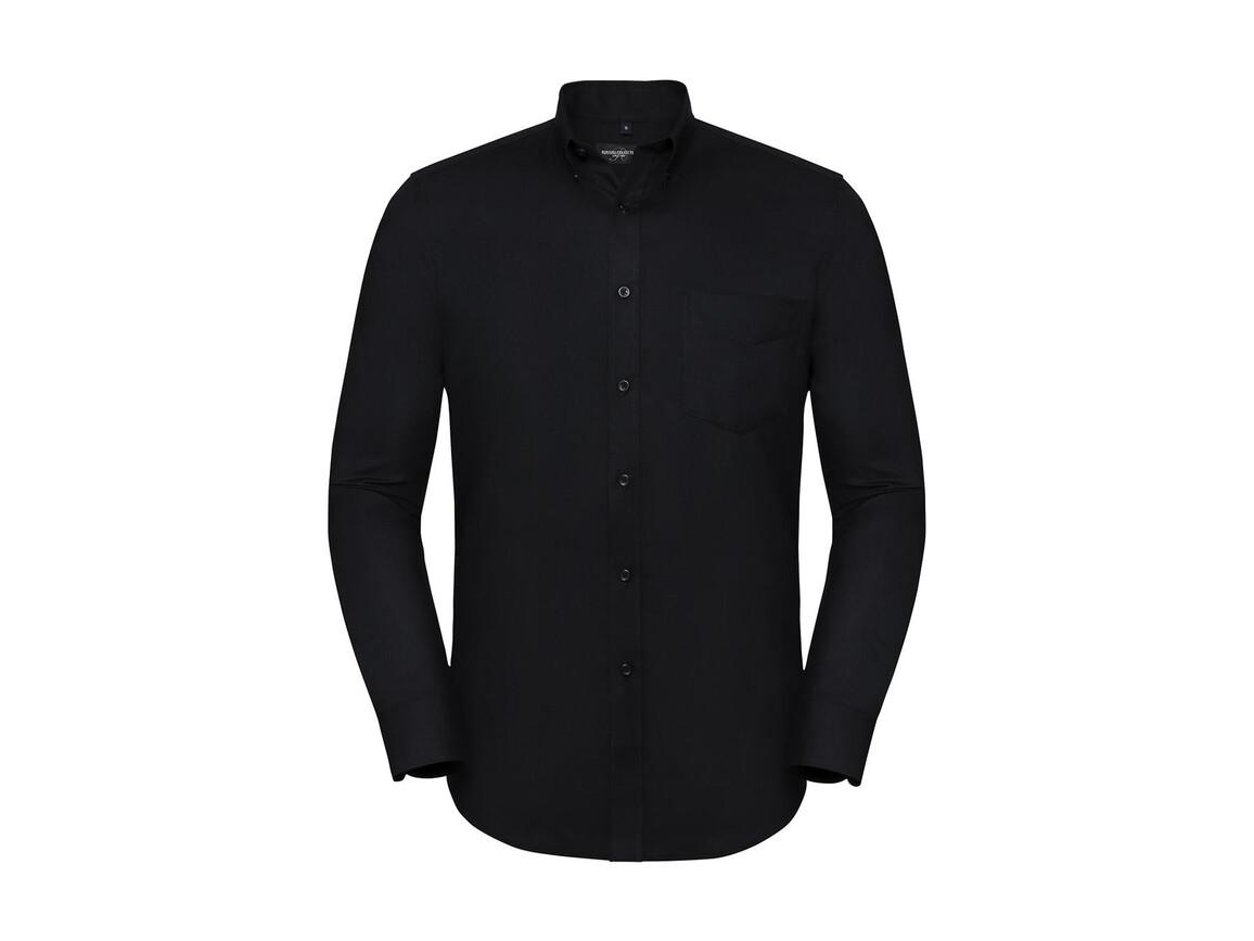 Russell Europe Men`s LS Tailored Button-Down Oxford Shirt, Black, 4XL bedrucken, Art.-Nr. 021001019