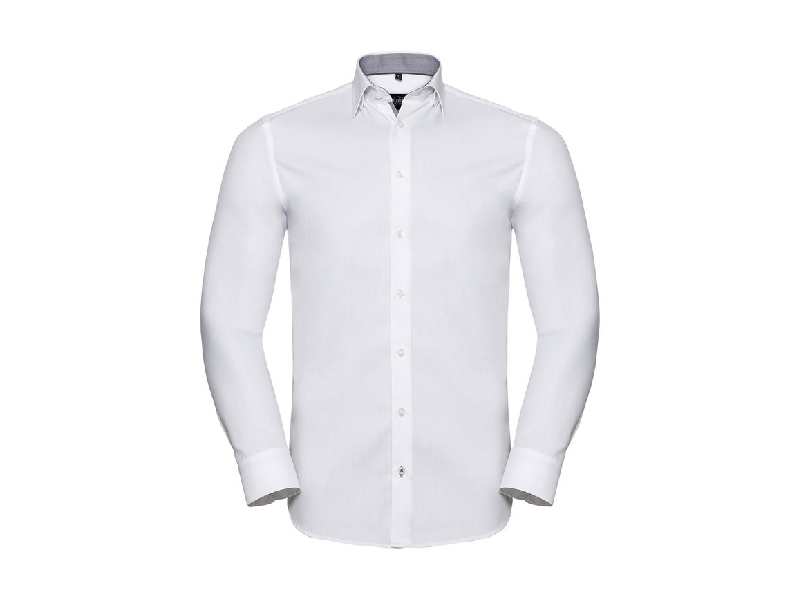 Russell Europe Men`s LS Tailored Contrast Herringbone Shirt, White/Silver/Convoy Grey, L bedrucken, Art.-Nr. 022000875