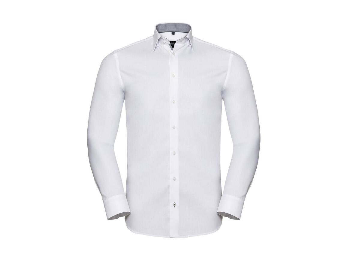 Russell Europe Men`s LS Tailored Contrast Herringbone Shirt, White/Silver/Convoy Grey, S bedrucken, Art.-Nr. 022000873