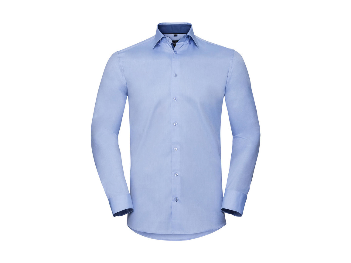 Russell Europe Men`s LS Tailored Contrast Herringbone Shirt, Light Blue/Mid Blue/Bright Navy, 3XL bedrucken, Art.-Nr. 022003838
