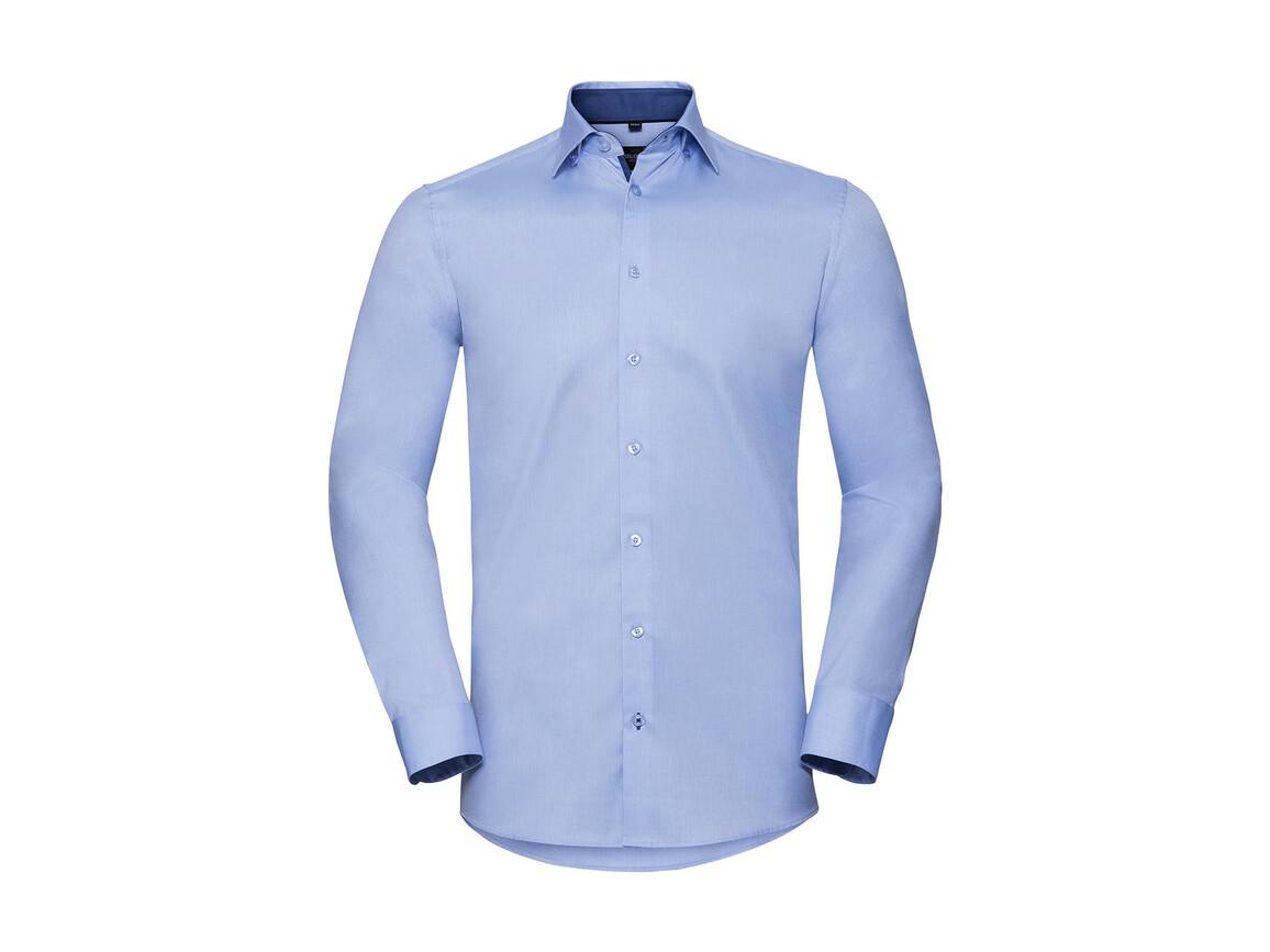 Russell Europe Men`s LS Tailored Contrast Herringbone Shirt, Light Blue/Mid Blue/Bright Navy, 4XL bedrucken, Art.-Nr. 022003839