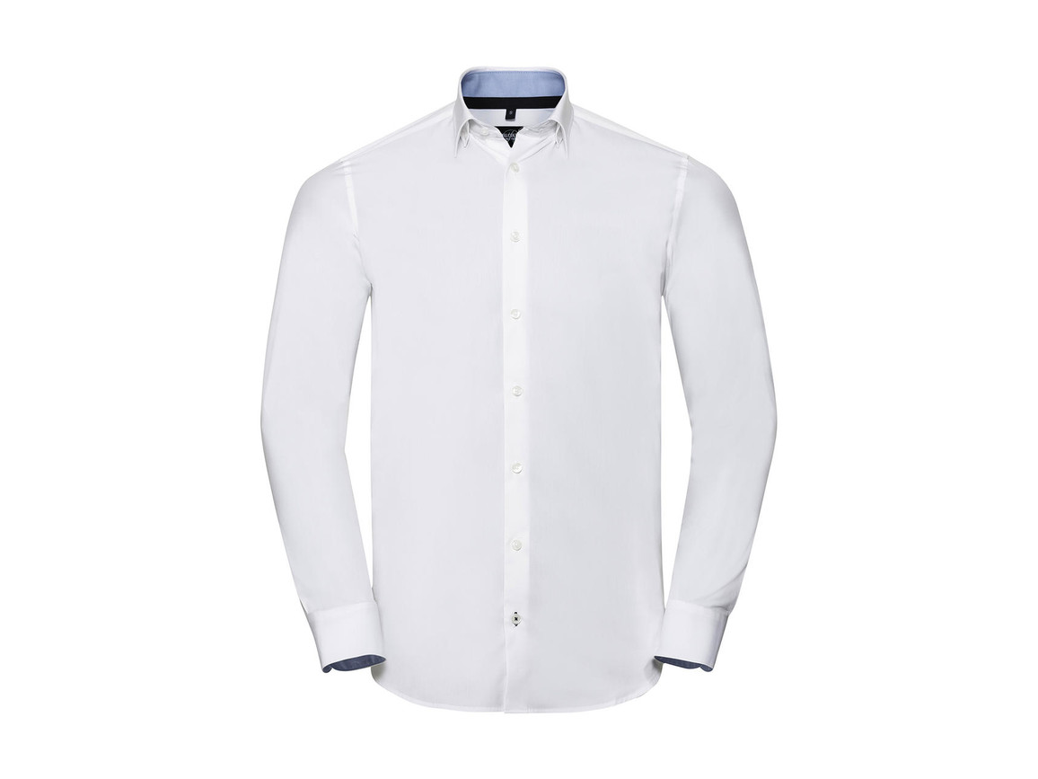 Russell Europe Men`s LS Tailored Contrast Ultimate Stretch Shirt, White/Oxford Blue/Bright Navy, S bedrucken, Art.-Nr. 023000833