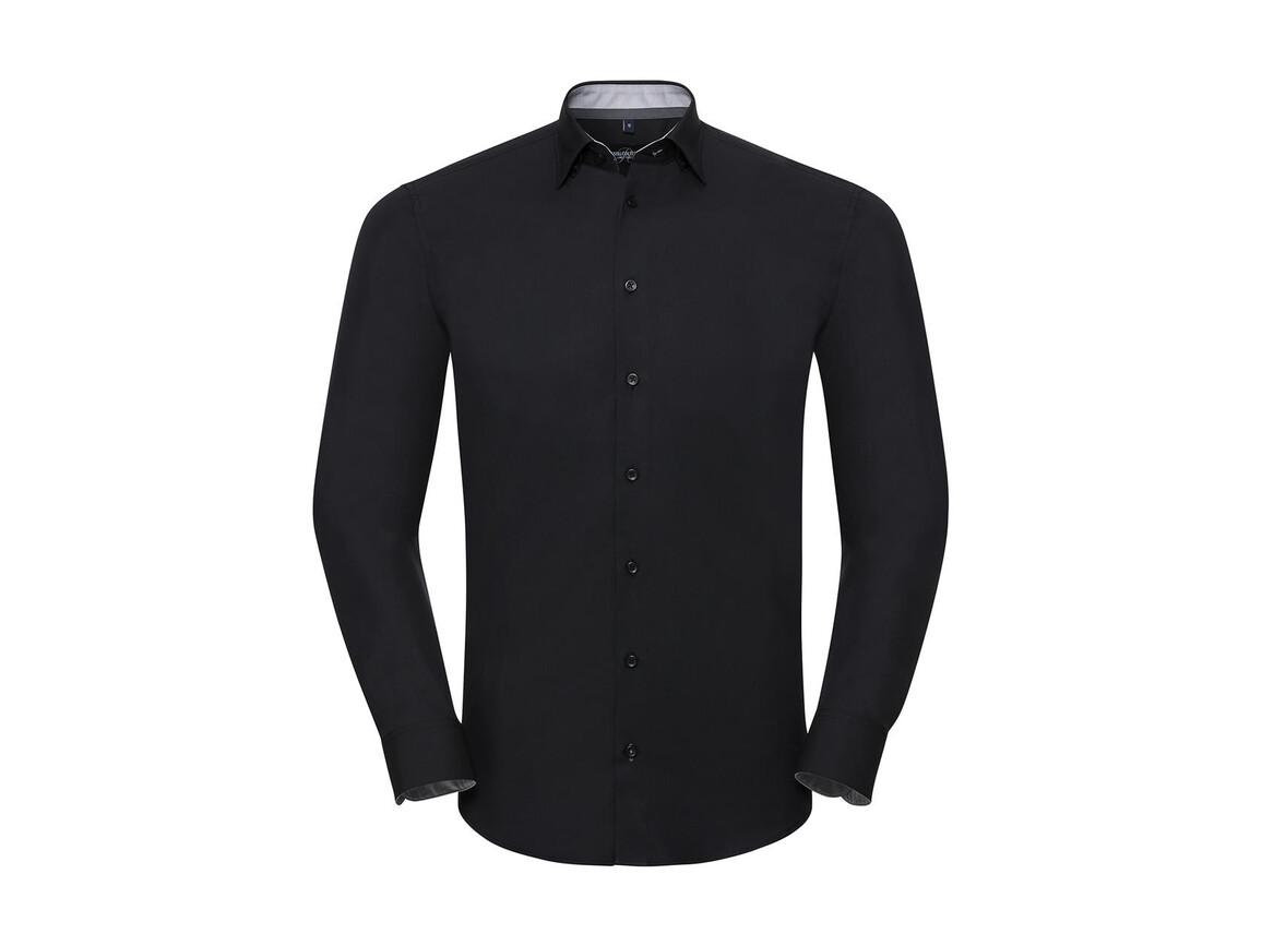 Russell Europe Men`s LS Tailored Contrast Ultimate Stretch Shirt, Black/Oxford Grey/Convoy Grey, 3XL bedrucken, Art.-Nr. 023001818