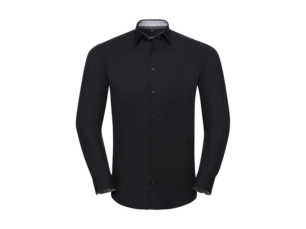 Russell Europe Men`s LS Tailored Contrast Ultimate Stretch Shirt, Black/Oxford Grey/Convoy Grey, M bedrucken, Art.-Nr. 023001814