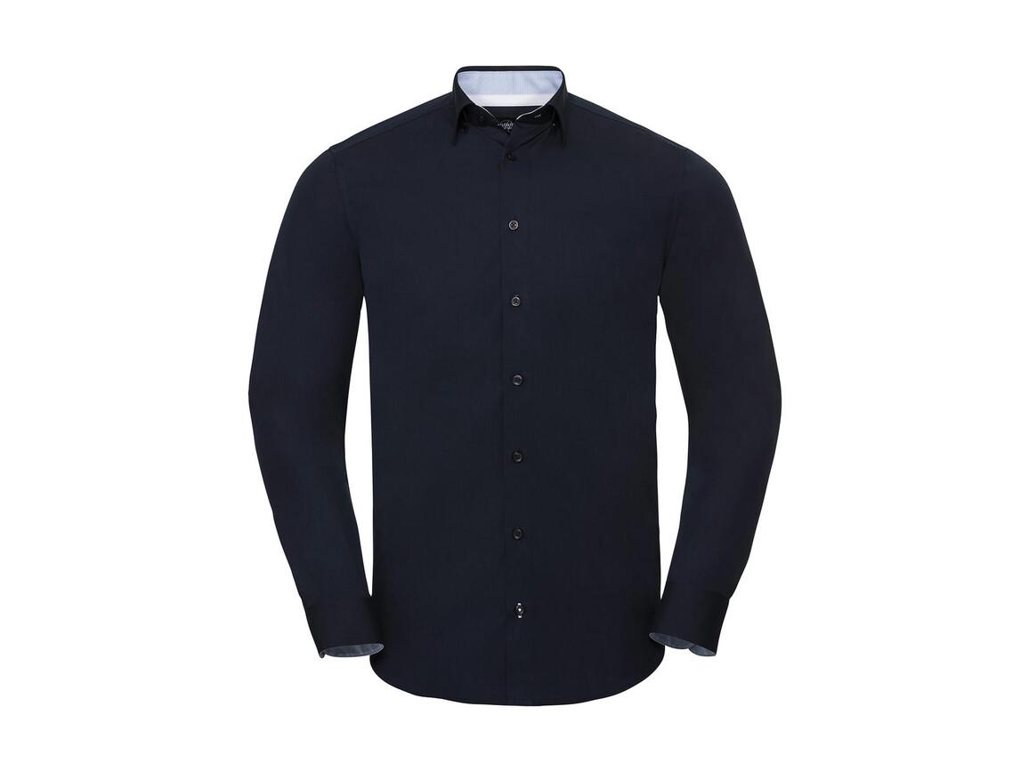 Russell Europe Men`s LS Tailored Contrast Ultimate Stretch Shirt, Bright Navy/Oxford Blue/White, 3XL bedrucken, Art.-Nr. 023002838