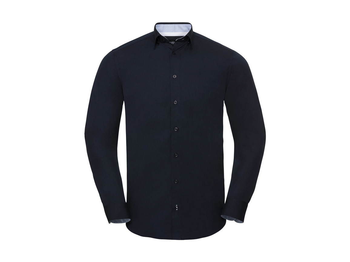 Russell Europe Men`s LS Tailored Contrast Ultimate Stretch Shirt, Bright Navy/Oxford Blue/White, 4XL bedrucken, Art.-Nr. 023002839