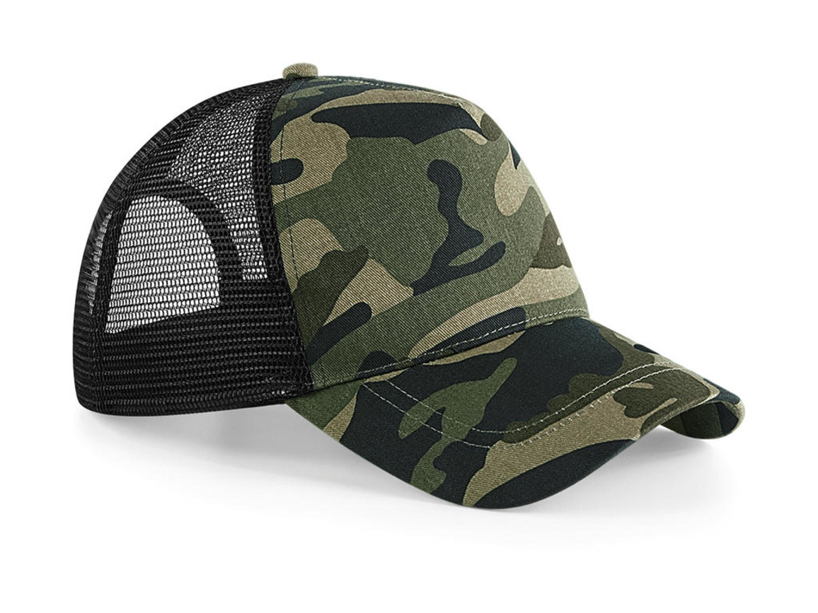 Beechfield Camo Snapback Trucker, Jungle Camo, One Size bedrucken, Art.-Nr. 023698020