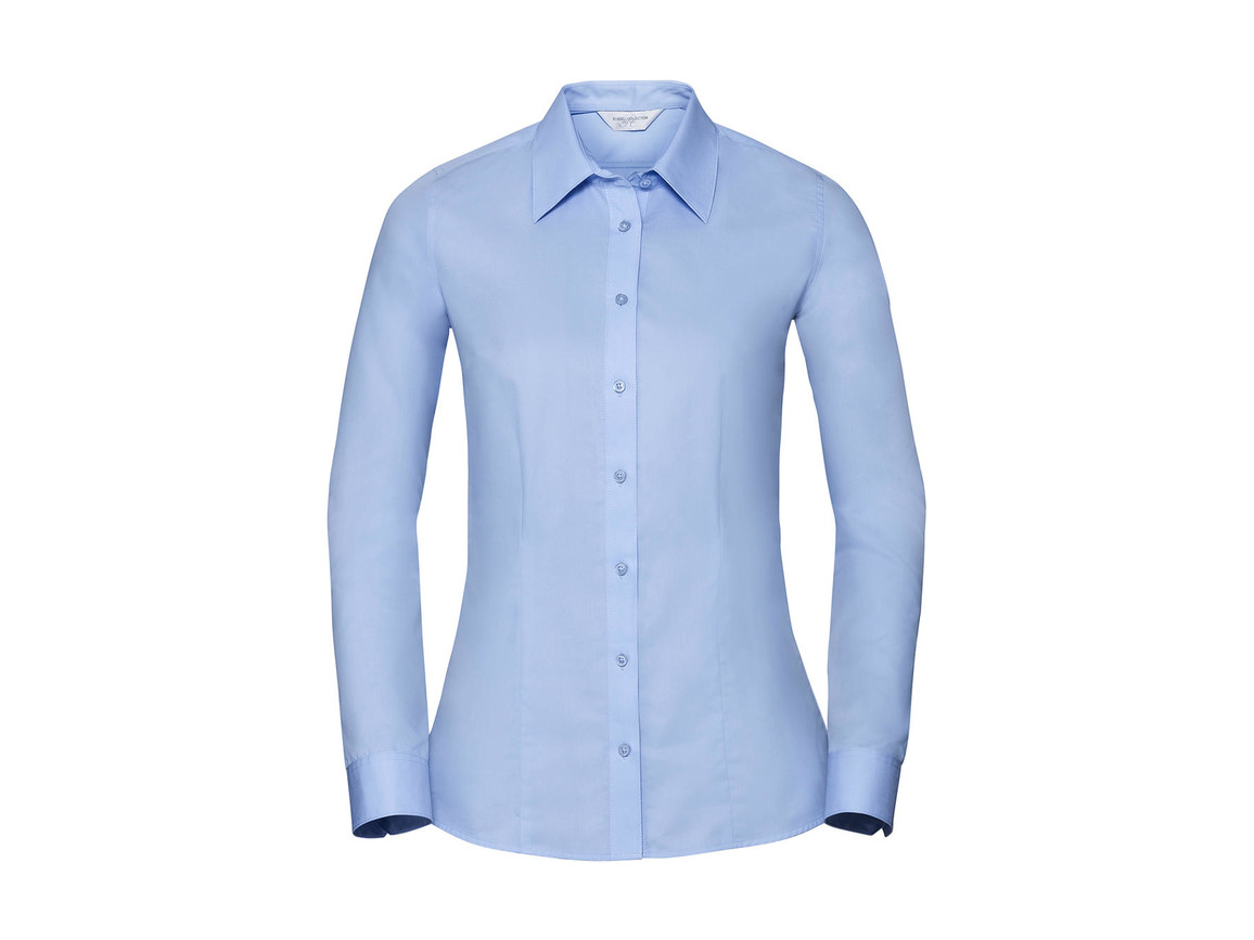 Russell Europe Ladies` LS Tailored Coolmax® Shirt, White, 2XL bedrucken, Art.-Nr. 024000007