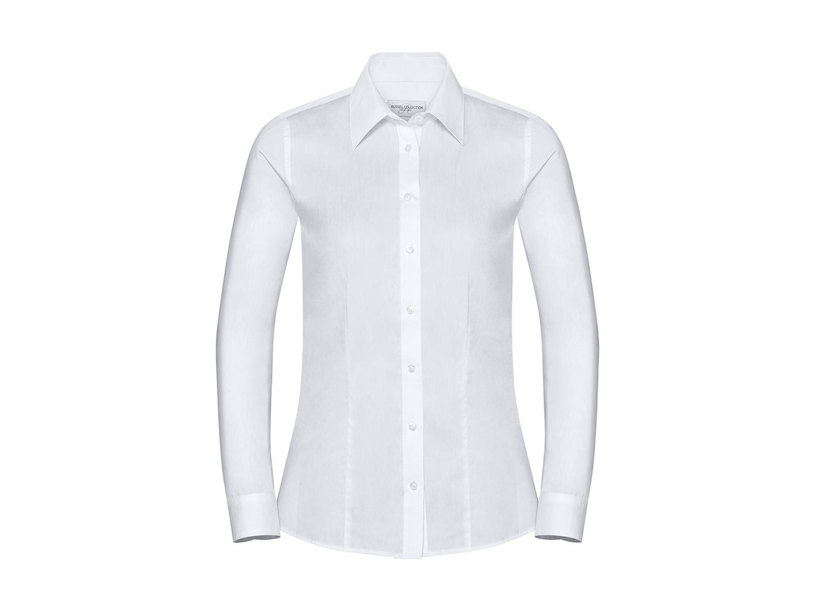 Russell Europe Ladies` LS Tailored Coolmax® Shirt, Light Blue, M bedrucken, Art.-Nr. 024003214