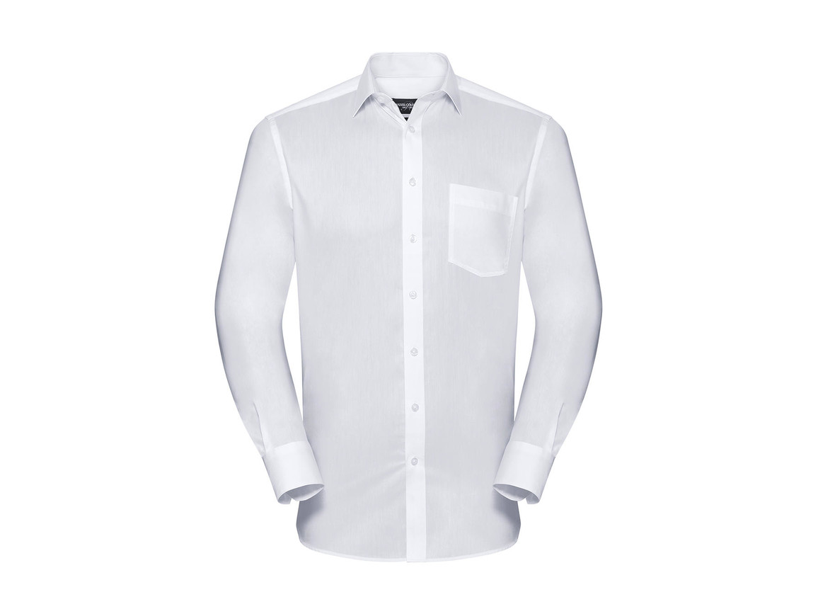 Russell Europe Men`s LS Tailored Coolmax® Shirt, White, 4XL bedrucken, Art.-Nr. 025000009