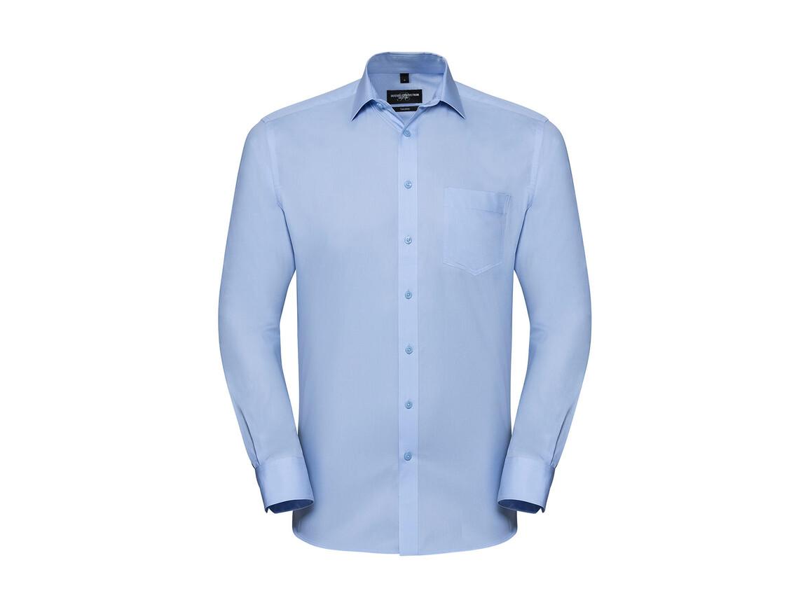 Russell Europe Men`s LS Tailored Coolmax® Shirt, Light Blue, M bedrucken, Art.-Nr. 025003214