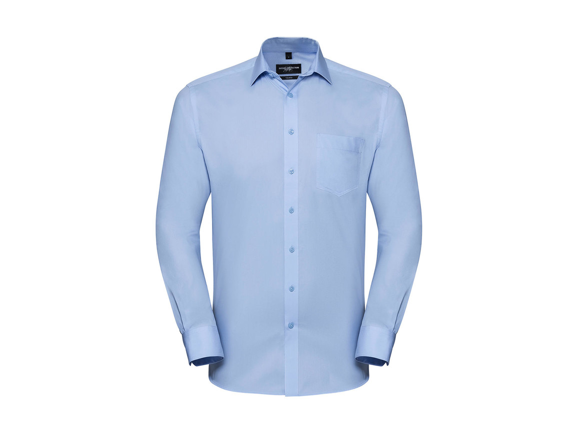 Russell Europe Men`s LS Tailored Coolmax® Shirt, Light Blue, XL bedrucken, Art.-Nr. 025003216