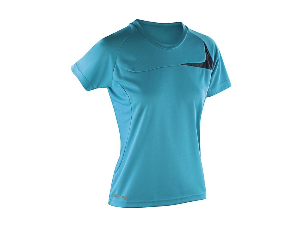 Result Spiro Ladies` Dash Training Shirt, Aqua/Grey, XS bedrucken, Art.-Nr. 025333512