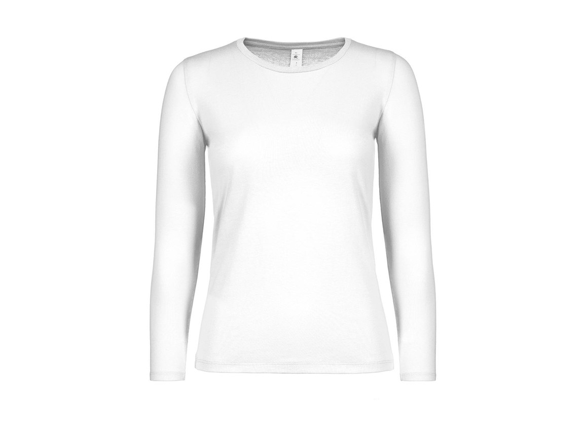 B & C #E150 LSL /women, White, S bedrucken, Art.-Nr. 029420003