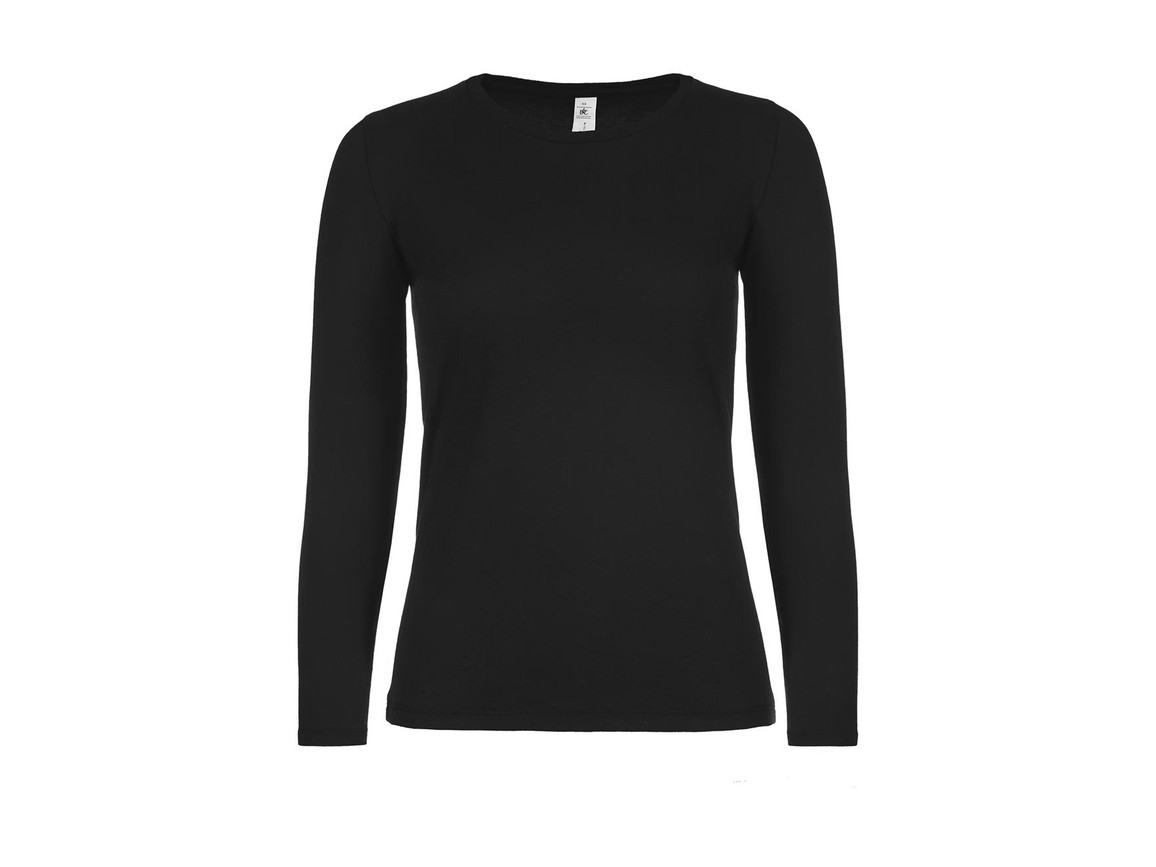 B & C #E150 LSL /women, Black, L bedrucken, Art.-Nr. 029421015