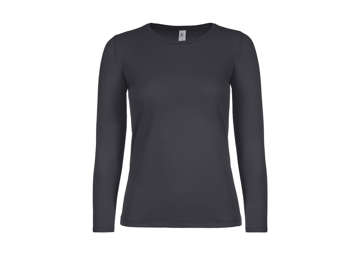 B & C #E150 LSL /women, Dark Grey, L bedrucken, Art.-Nr. 029421285