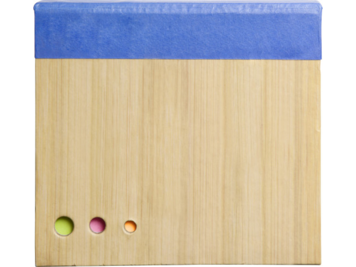 Notizblock 'Jakarta' mit Haftnotizen in Bambusoptik – Kobaltblau bedrucken, Art.-Nr. 023999999_8935