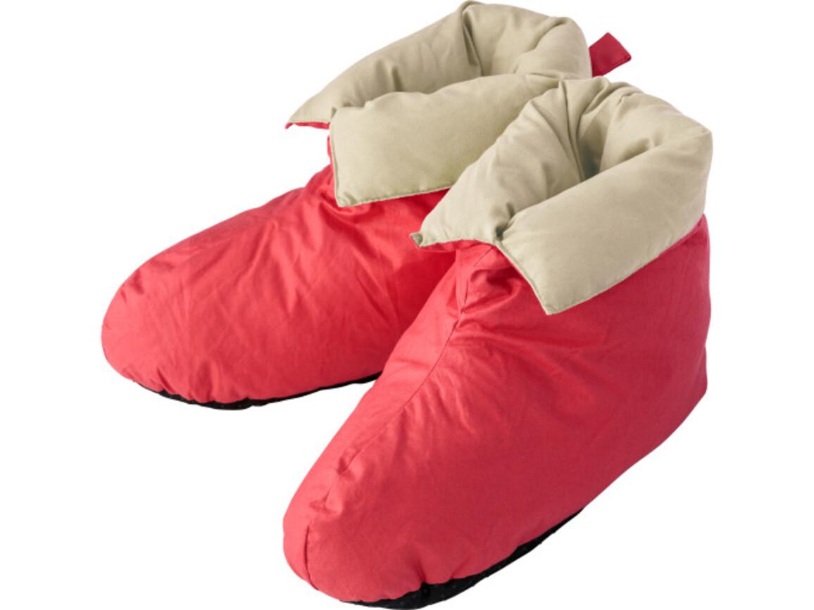 Hausschuhe 'Big feet' aus Baumwolle – Khaki bedrucken, Art.-Nr. 013028999_5468