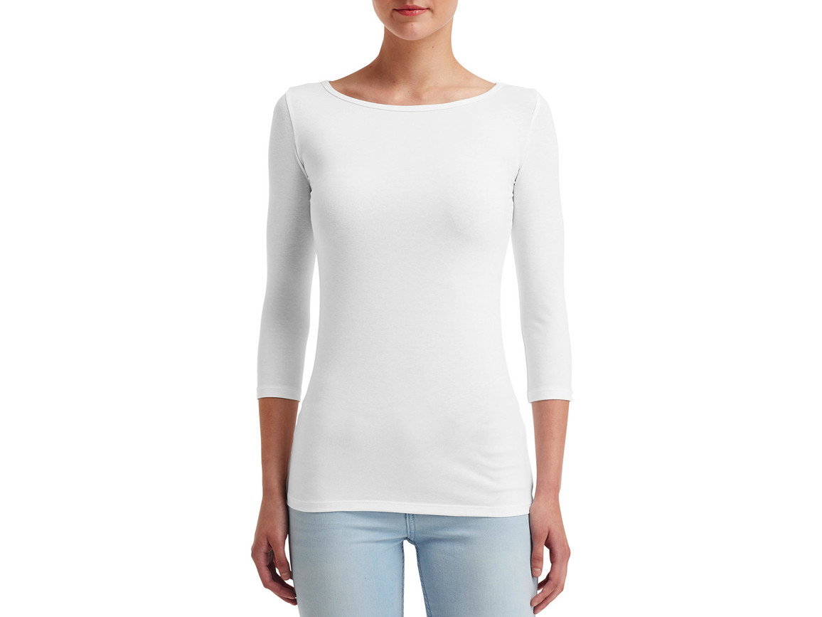 Anvil Women`s Stretch 3/4 Sleeve Tee, White, L bedrucken, Art.-Nr. 111080005
