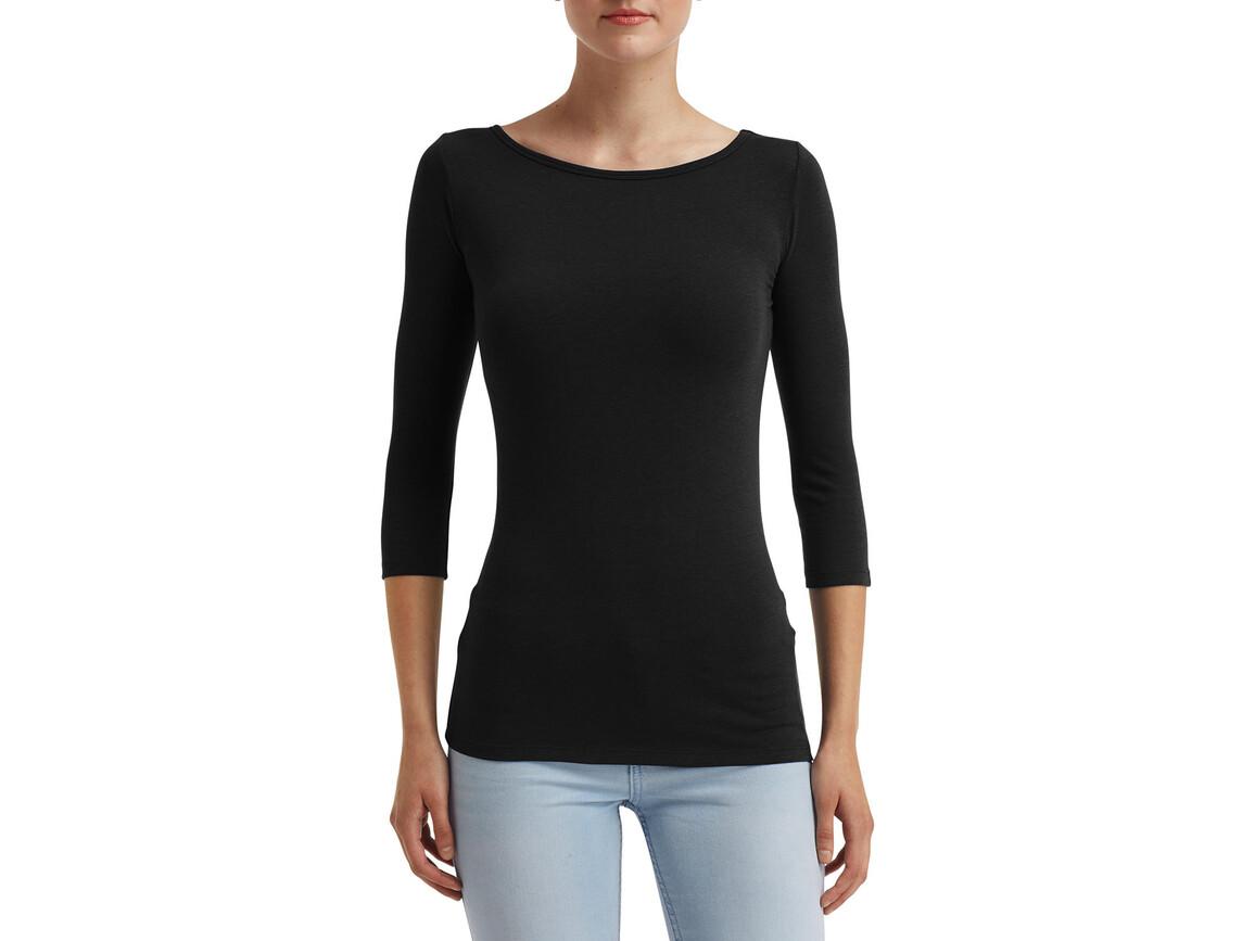 Anvil Women`s Stretch 3/4 Sleeve Tee, Black, L bedrucken, Art.-Nr. 111081015