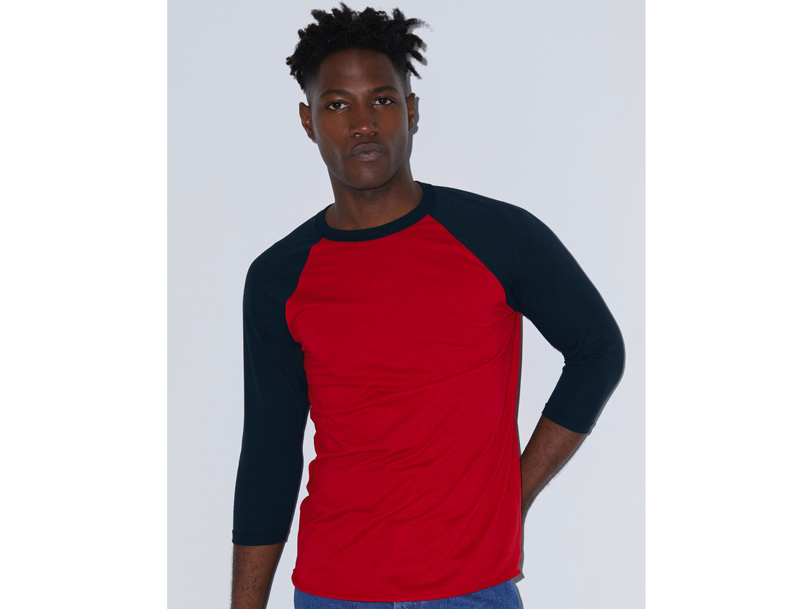 American Apparel Unisex Poly-Cotton 3/4 Sleeve Raglan T-Shirt, White/Heather Lake Blue, M bedrucken, Art.-Nr. 112070584