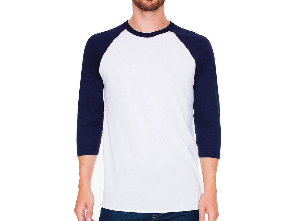 American Apparel Unisex Poly-Cotton 3/4 Sleeve Raglan T-Shirt, White/Navy, XS bedrucken, Art.-Nr. 112070522