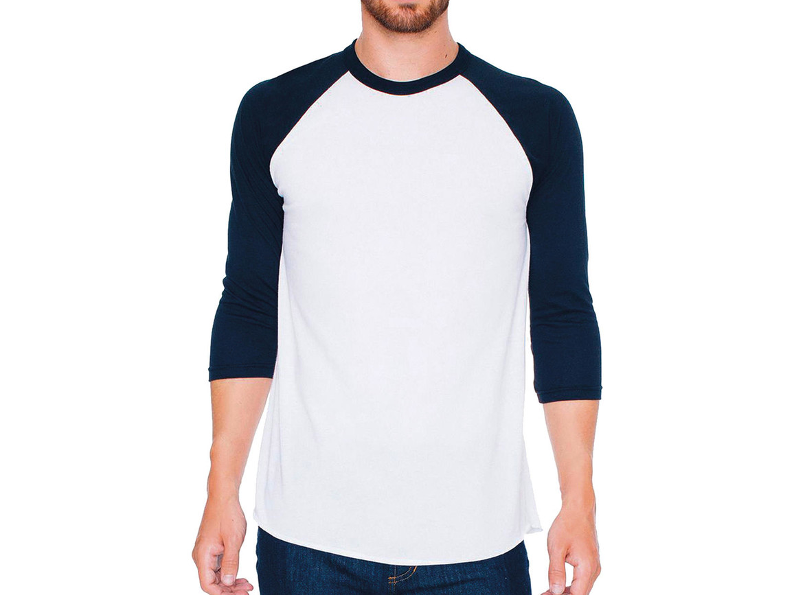 American Apparel Unisex Poly-Cotton 3/4 Sleeve Raglan T-Shirt, White/Black, L bedrucken, Art.-Nr. 112070565