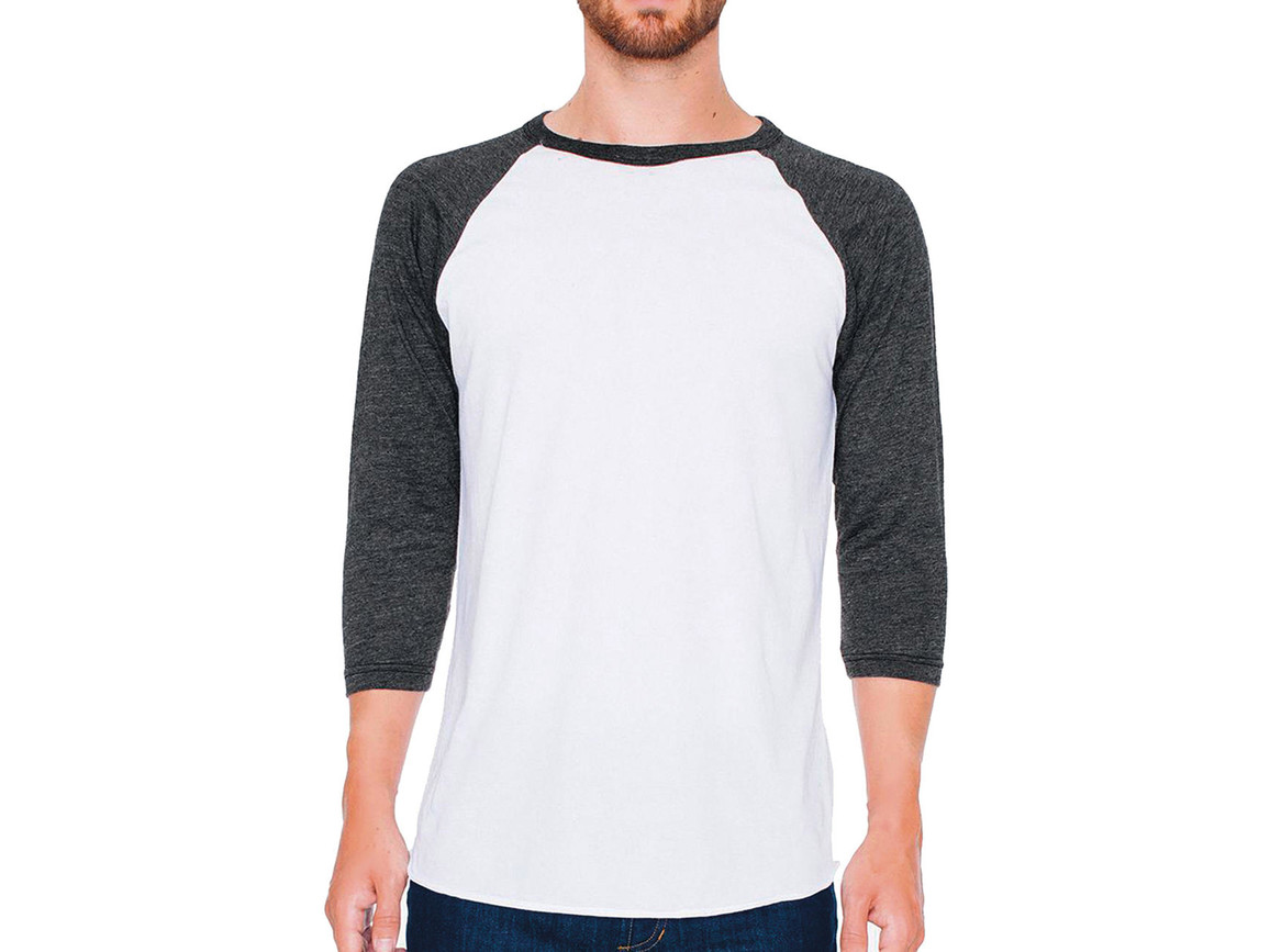 American Apparel Unisex Poly-Cotton 3/4 Sleeve Raglan T-Shirt, White/Heather Black, M bedrucken, Art.-Nr. 112070604
