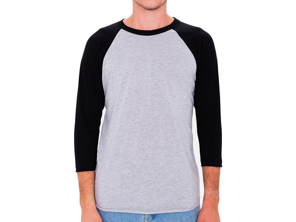 American Apparel Unisex Poly-Cotton 3/4 Sleeve Raglan T-Shirt, Heather Grey/Black, M bedrucken, Art.-Nr. 112071514