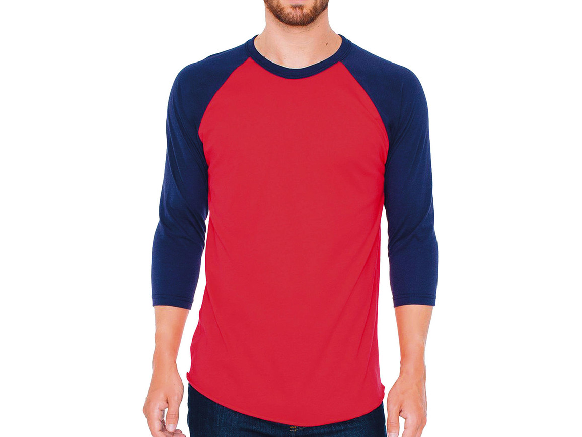 American Apparel Unisex Poly-Cotton 3/4 Sleeve Raglan T-Shirt, Red/Navy, M bedrucken, Art.-Nr. 112074554