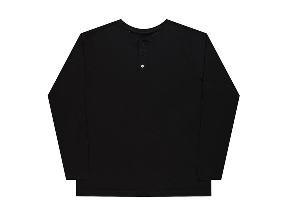 nakedshirt Aden Men`s LS Henley T-Shirt, Deep Black, S bedrucken, Art.-Nr. 112851033