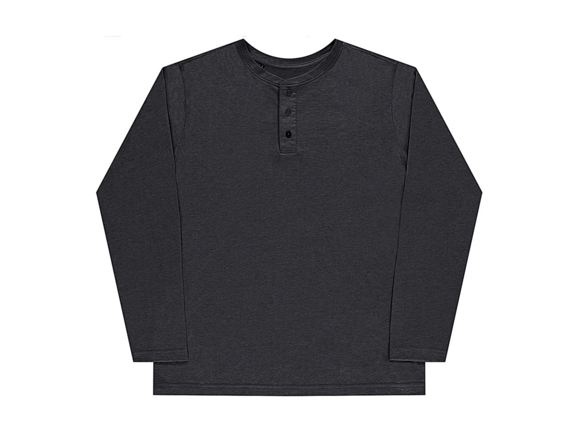 nakedshirt Aden Men`s LS Henley T-Shirt, Vintage Charcoal, S bedrucken, Art.-Nr. 112851313