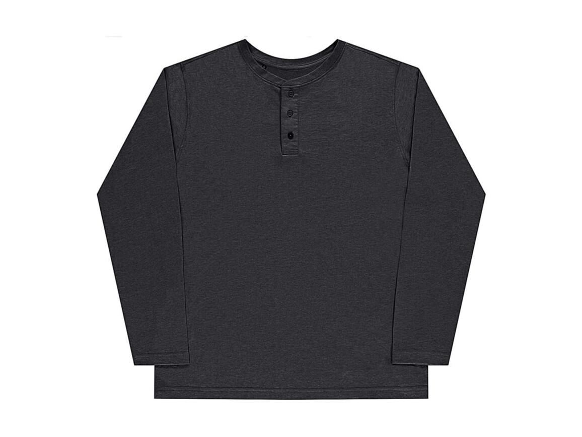 nakedshirt Aden Men`s LS Henley T-Shirt, Vintage Charcoal, XL bedrucken, Art.-Nr. 112851316