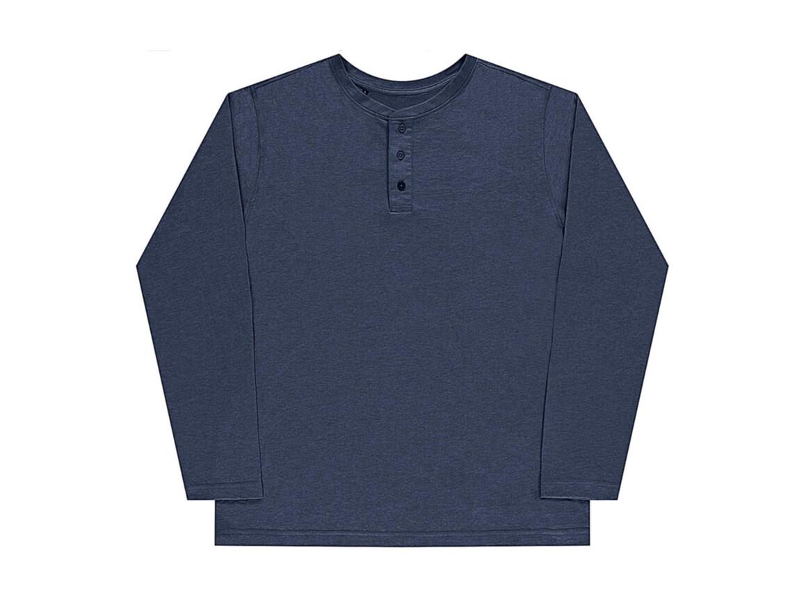 nakedshirt Aden Men`s LS Henley T-Shirt, Denim Blue, 2XL bedrucken, Art.-Nr. 112853187