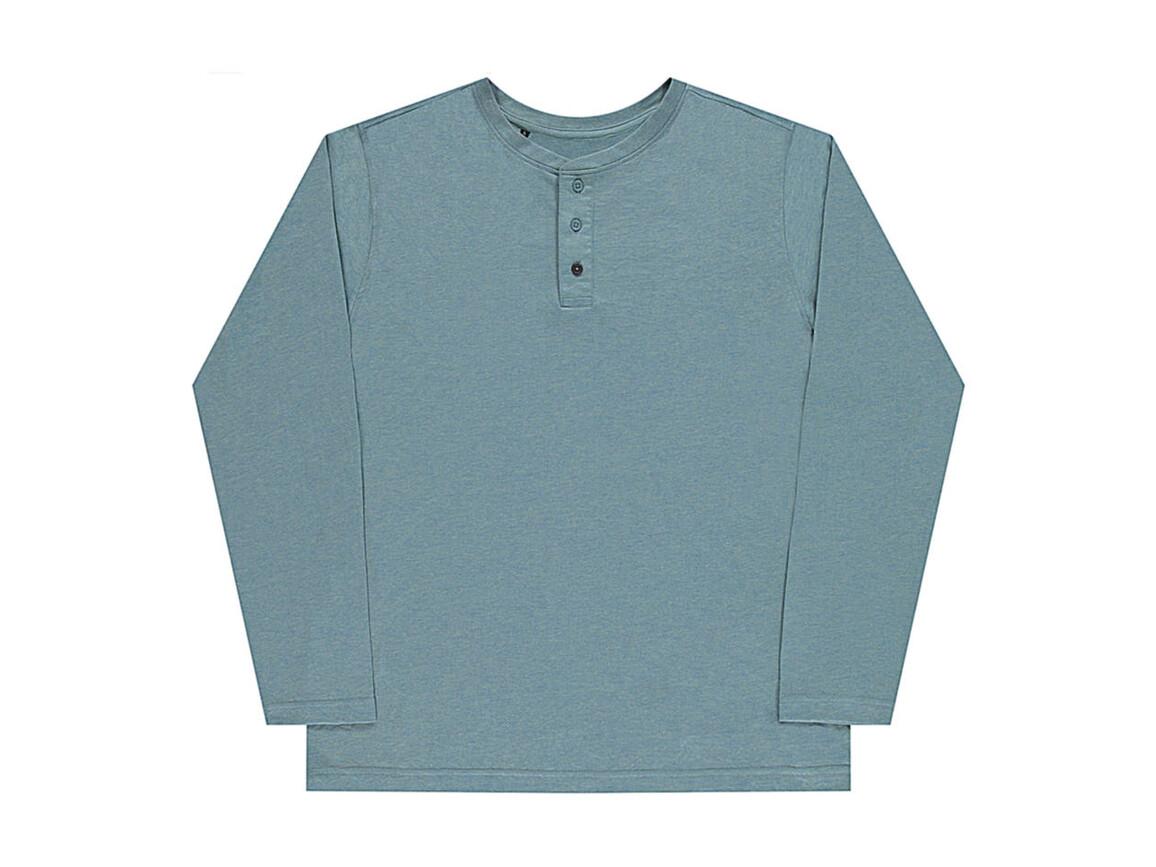 nakedshirt Aden Men`s LS Henley T-Shirt, Doubledyed Seafoam, 2XL bedrucken, Art.-Nr. 112855117