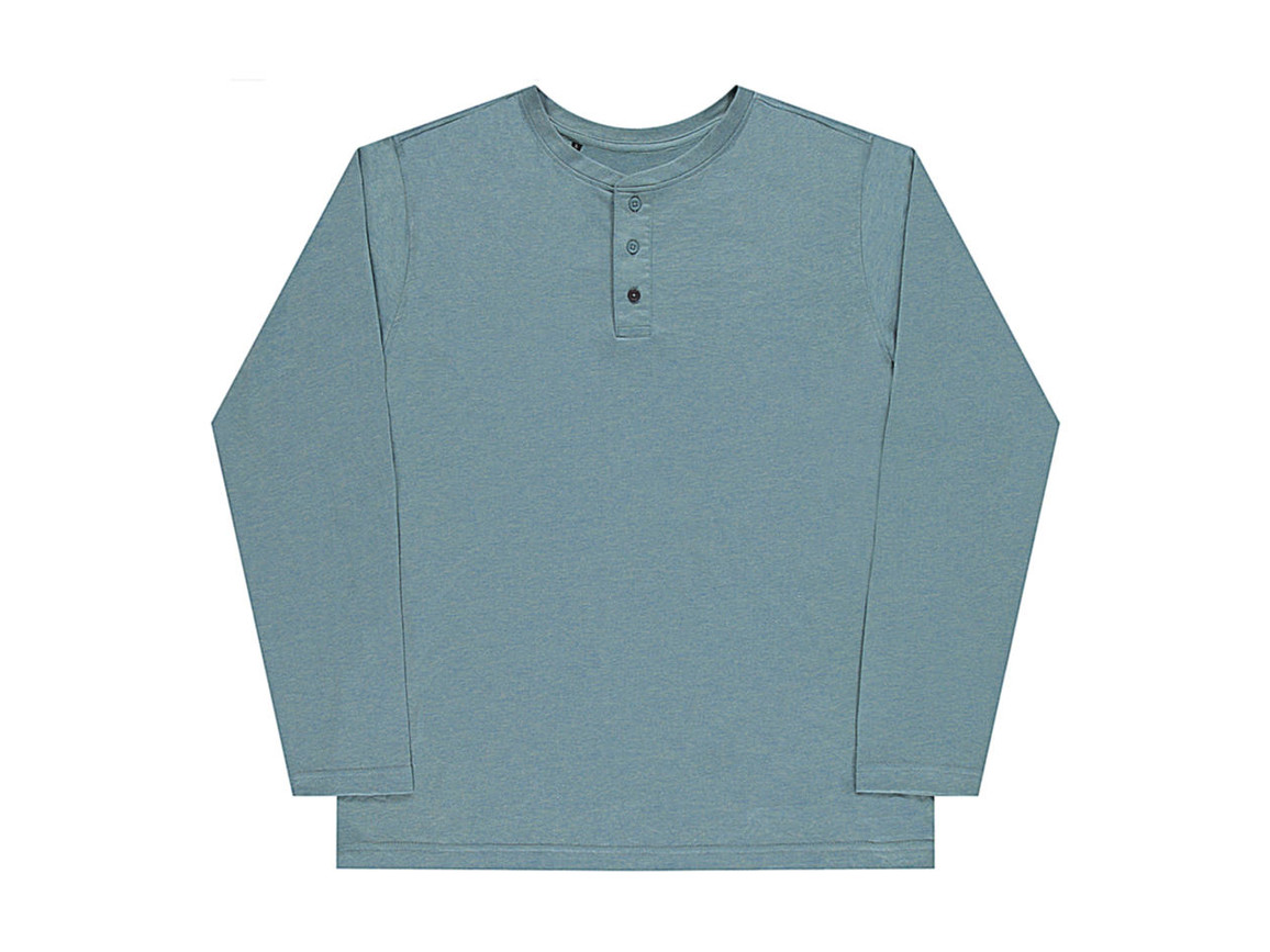 nakedshirt Aden Men`s LS Henley T-Shirt, Doubledyed Seafoam, M bedrucken, Art.-Nr. 112855114