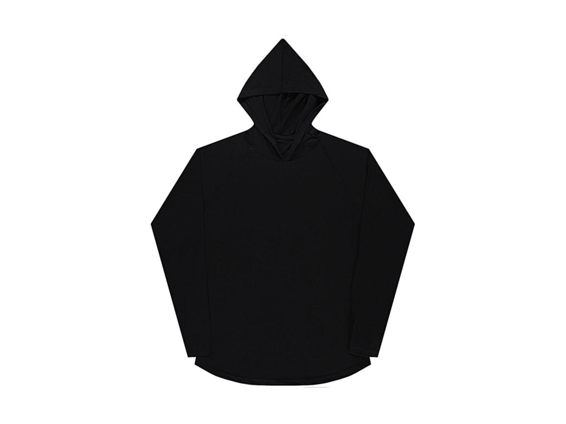 nakedshirt Cecil Unisex LS Hooded T-Shirt, Deep Black, M bedrucken, Art.-Nr. 113851034