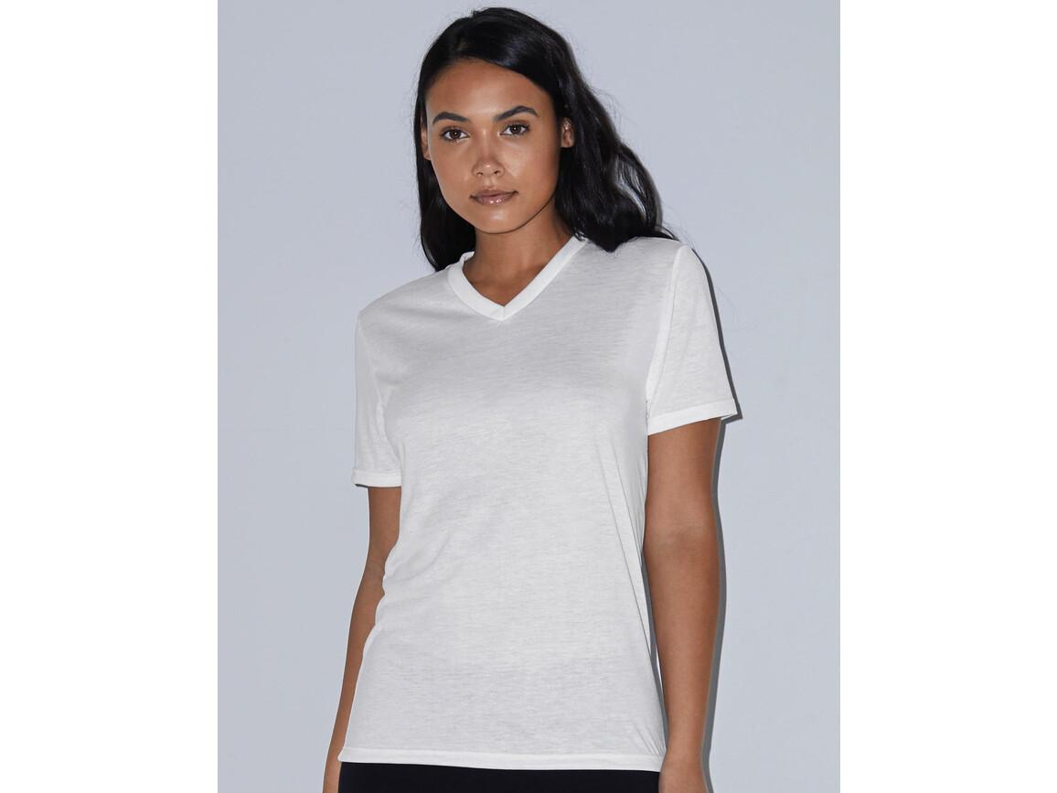American Apparel Women`s Sublimation Classic V-Neck T-Shirt, White, L bedrucken, Art.-Nr. 114070005