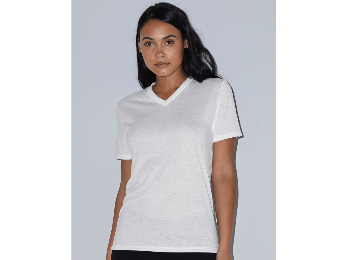 American Apparel Women`s Sublimation Classic V-Neck T-Shirt, White, XL bedrucken, Art.-Nr. 114070006