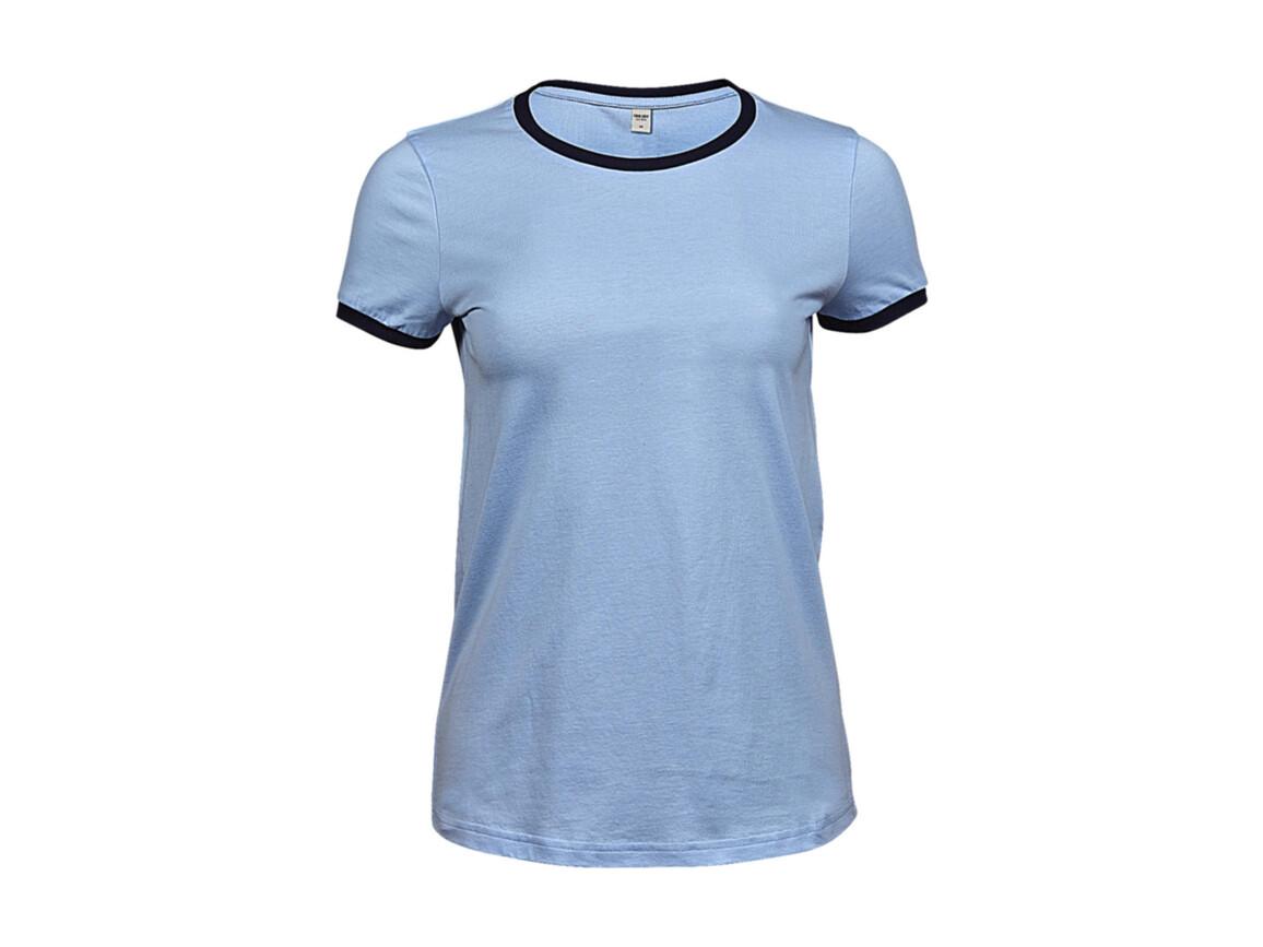 Tee Jays Ladies` Ringer Tee, Light Blue/Navy, L bedrucken, Art.-Nr. 115543525