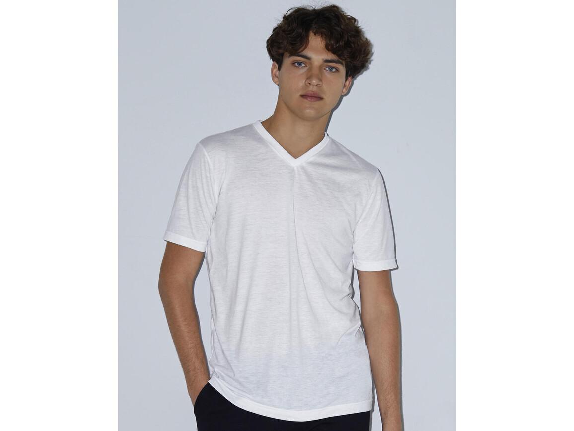 American Apparel Unisex Sublimation V-Neck T-Shirt, White, M bedrucken, Art.-Nr. 116070004