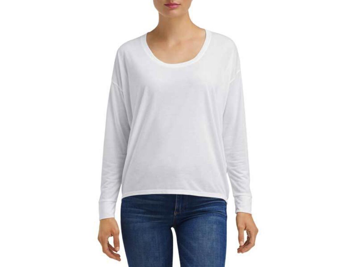 Anvil Women`s Freedom Long Sleeve Tee, White, XL bedrucken, Art.-Nr. 116080006