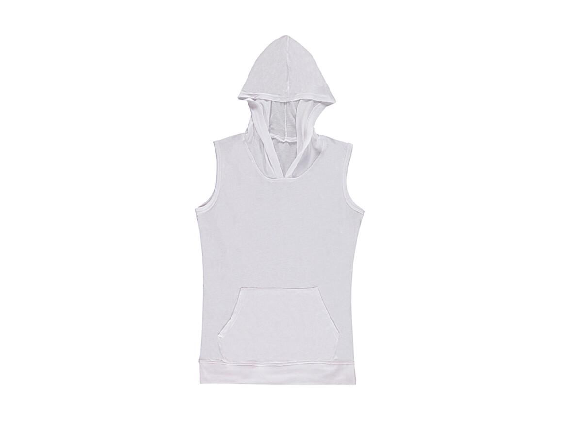 nakedshirt Cecilia Women`s Sleeveless Hooded T-Shirt, White, M bedrucken, Art.-Nr. 116850004