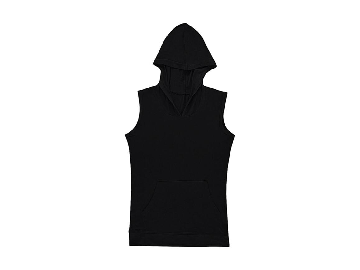 nakedshirt Cecilia Women`s Sleeveless Hooded T-Shirt, Deep Black, M bedrucken, Art.-Nr. 116851034