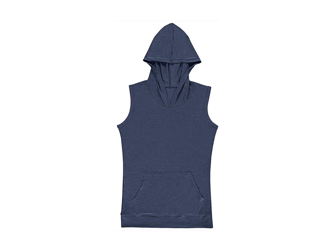 nakedshirt Cecilia Women`s Sleeveless Hooded T-Shirt, Denim Blue, L bedrucken, Art.-Nr. 116853185