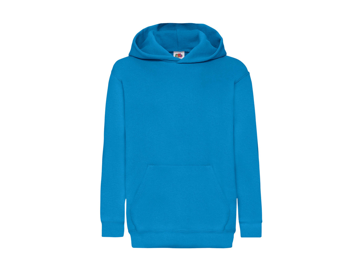 Fruit of the Loom Kids` Classic Hooded Sweat, Azure Blue, 140 (9-11) bedrucken, Art.-Nr. 280013106