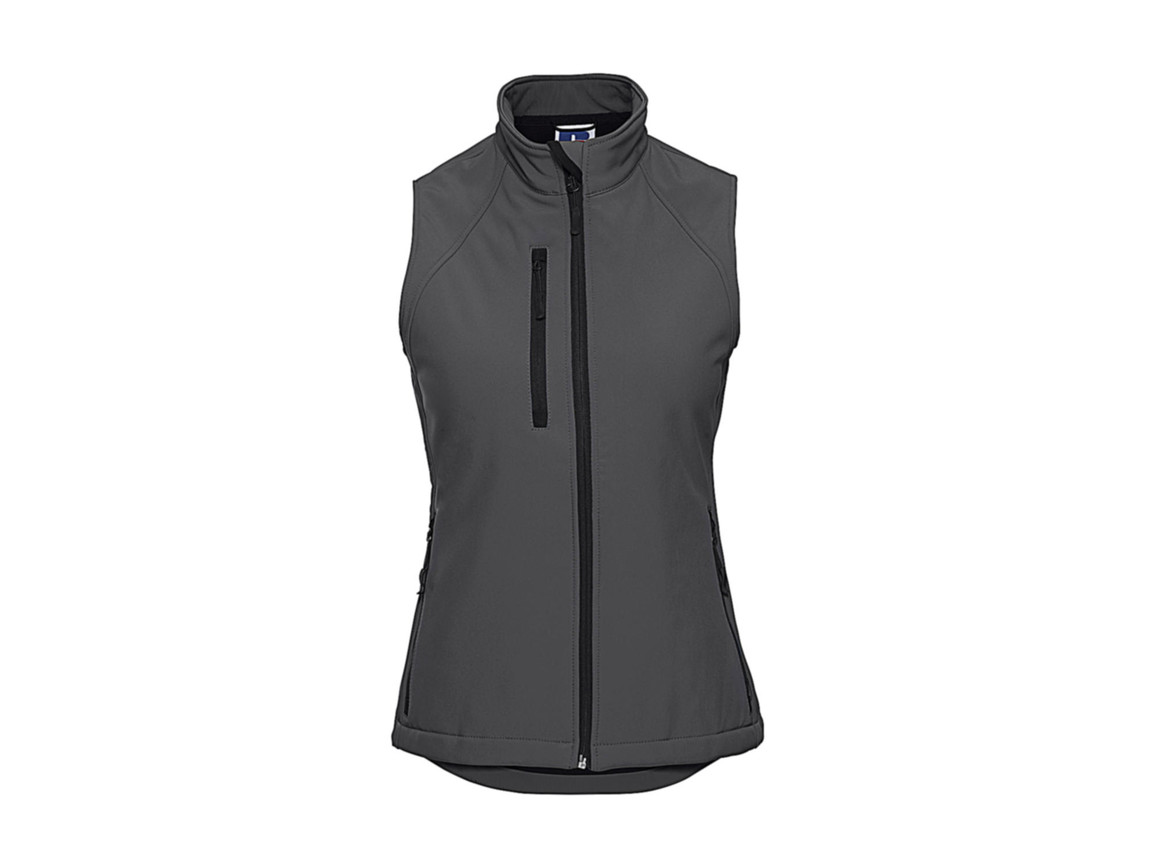Russell Europe Ladies` Softshell Gilet, Titanium, 2XL bedrucken, Art.-Nr. 460001397