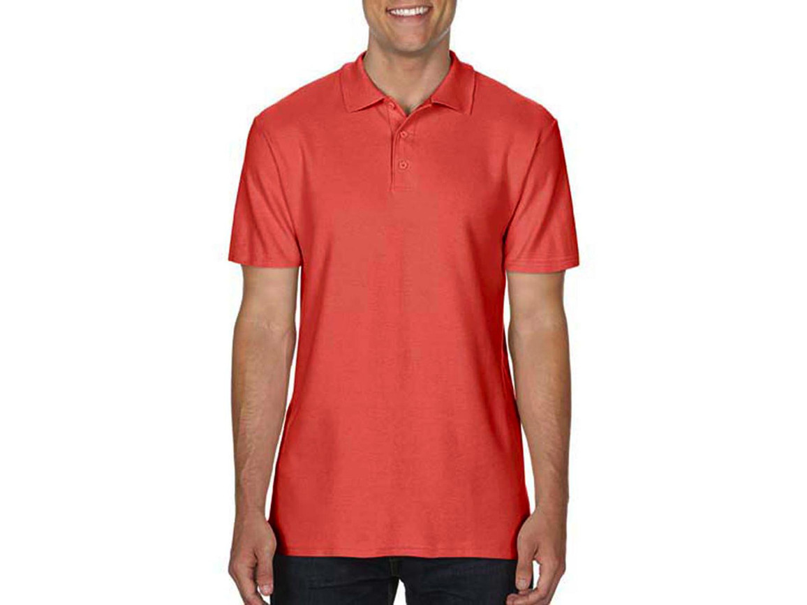 Gildan Softstyle® Adult Double Pique Polo, Bright Salmon, M bedrucken, Art.-Nr. 501094224