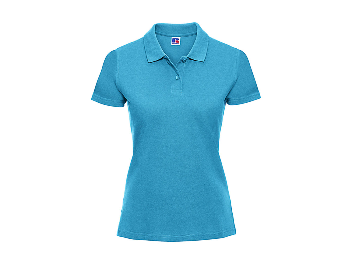 Russell Europe Ladies` Classic Cotton Polo, Turquoise, M bedrucken, Art.-Nr. 502005364