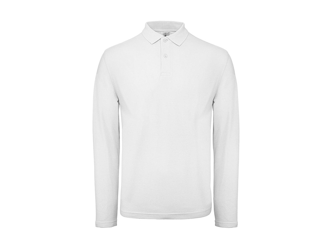 B & C ID.001 LSL Polo, White, 3XL bedrucken, Art.-Nr. 502420008